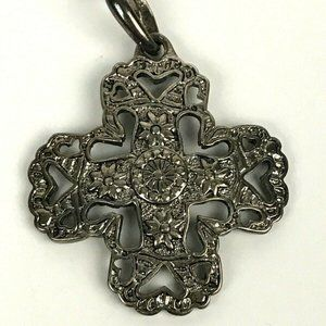 Silver Tone Cross Pendant Marked 1.5'' Charm Etch